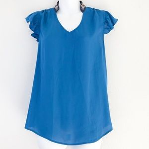 Anthropologie Top Blouse HD Paris Blue Embroidered